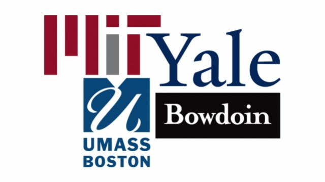 Logos for MIT, Yale University, Bowdoin College, and UMass Boston
