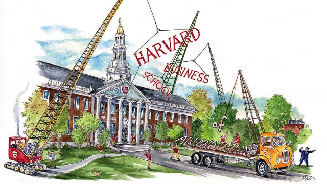 Illustration showing how Harvard Business School settled on its new name in 1961
