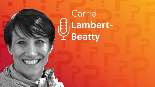 Carrie Lambert-Beatty headshot over an orange background.