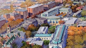 An aerial view of the proposed new building, looking northwest from a vantage point above the Science Center