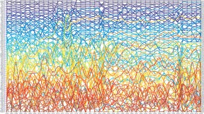 The complexity of nations' economies changes over time. César Hidalgo used network science to graph the phenomenon, as shown below for 99 nations between the years 1963 and 2005.