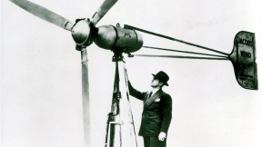 American inventor Marcellus Jacobs atop one of his wind turbines in the 1940s