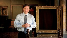 Anthony Amore at the Isabella Stewart Gardner Museum in Boston, with empty frames that held venerable paintings before the 1990 theft