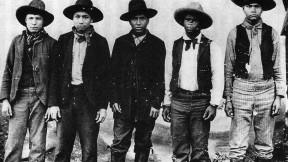 The only known photograph of the Rufus Buck gang, taken in the summer of 1895 in Indian Territory. Buck is in the middle.