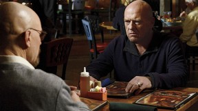 Dean Norris, at right, in the television series <i>Breaking Bad</i> with Bryan Cranston