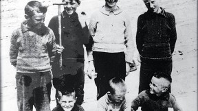 Michael Carney (standing left) with friends, and (seated) brothers Tom, Martin, and Paddy.