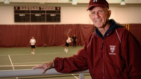Former gymnast Bruce Wright brings unconventional views to the tennis court.