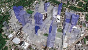 In this 3D representation of the relationship between collaboration and mean citation impact in the Longwood Medical Area, each building's height reflects the number of citations of papers originating in the building, while the color gradient (from gray/low to blue/high) represents the proportion of publications originating from that building in which both first and last authors work in the building.