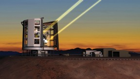 A rendering of the Giant Magellan Telescope in operation in Chile, deploying the lasers for its adaptive-optics system