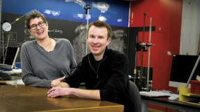 Melissa Franklin and Logan McCarty in the SciBox, an experimental learning space they designed
