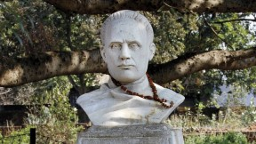 """The inscription below this bust of Vidyasagar quotes Rabindranath Tagore: """"The chief glories of [his] character were neither his compassion nor his learning, but his invincible manliness and imperishable humanity."""" The presence of a garland speaks to the reverence many still feel for the man."""