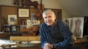 In his Cambridge studio, Childs makes about six violins a year.