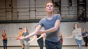 "Dance director and senior lecturer Jill Johnson leading Music 12, ""The Harvard Dance Project"""
