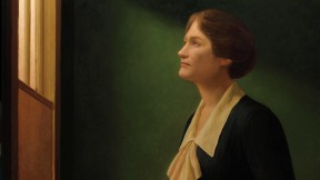 """Posthumous portrait of astronomer Cecilia Payne-Gaposchkin looking up and through a window, echoing Vermeer's painting """"The Astronomer"""""""