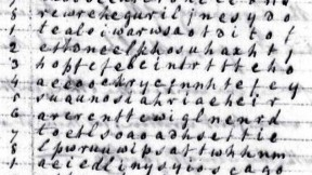 "Robert Patterson's letter to Thomas Jefferson included a worked example of his cipher. He began by writing his message in lower-case letters and in columns, running top to bottom like Chinese. This example begins with the words ""Buonaparte has at last given peace to Europe,"" legible in the first two columns."