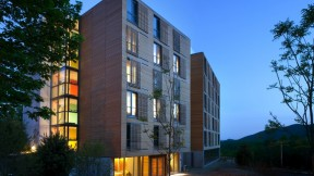 A warm entrance to the new Kripalu residential dorm