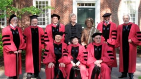 The 2011 honorary-degree recipients. Back row from left: John G.A. Pocock, Provost Steven Hyman, Sir Timothy John Berners-Lee, President Drew Faust, Her Excellency Ellen Johnson Sirleaf, David Satcher, and Plácido Domingo. Front row from left: Dudley Herschbach, Rosalind Krauss, and James R. Houghton. Not pictured: The Honorable Ruth Bader Ginsburg