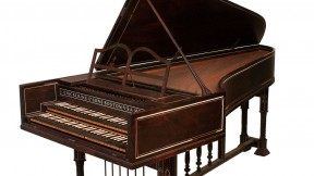 "Harvard's 1906 Dolmetsch harpsichord has two keyboards, or ""manuals."""