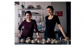 Sisters Vanessa and Casey White in the kitchen of their company, Jaju Pierogi