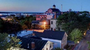 Aerial view of historic downtown New Bedford buildings