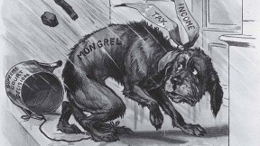 <i>Puck<i> magazine cartoon from 1895 lampooning the income tax
