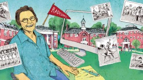 Illustration of Radcliffe alumna Alice Abarbanel amid scenes from Radcliffe College