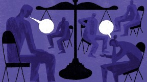 Illustration of seated people talking in a restorative justice circle