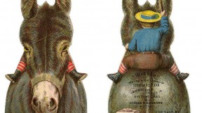 The front and back of a die-cut trade card shaped like a donkey that was used to advertise coffee. When the card is flipped over, the viewer can see that there is a boy riding on the donkey's back.