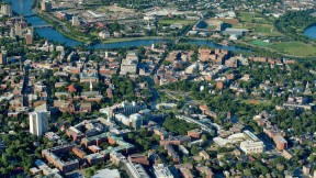 "The Cambridge campus as seen from a vantage point above Oxford Street, looking toward the University's future in Allston  [<a href=""http://harvardmagazine.com/sites/default/files/375_so11_002_web.jpg"">VIEW LARGER PHOTOGRAPH</a>]"