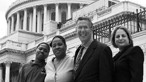 Bob Friedman (third in line) with SEED saver Jemel Jones, his mother, Patricia Jones, and Andrea Pardon, SEED program manager at Jemel's school