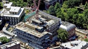 This view of the Fogg Art Museum, taken in mid summer, shows the new structure being inserted in the original Quincy Street façade.