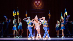 "The big production number ""What You Want,"" from the London production of <i>Legally Blonde</i>"