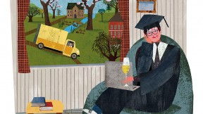 Colorful composite drawing of the author, dressed in cap and gown, at home in Cambridge, with scenes of blossoming trees and a yellow moving truck visible through the window.