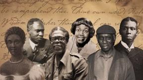 Composite illustration of African American poets Phillis Wheatley, Melvin B. Tolson, Dudley Randall, Gwendolyn Brooks, Yusef Komunyakaa, Paul Laurence Dunbar