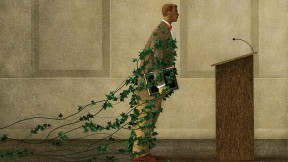 An illustration showing a professor held back by ivy vines, representing traditional and reluctance to change