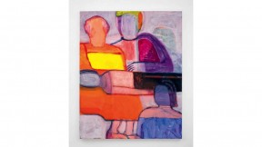 bold colorful figures, with one lying on a mother's lap