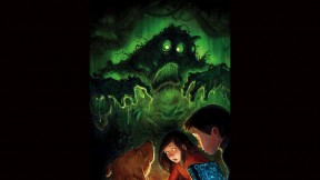 Illustration of a ghostly green monster and two children looking scared
