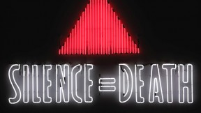 The iconic <i>Silence=Death</i> neon sign, 1987, by the Silence=Death Project, appropriated (and inverted) the pink triangle used by Nazis to identify known homosexuals; the message, in poster form, preceded the formation of ACT UP. This is a copy of the original from the collection of the New Museum, New York.