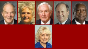 Top row from left: Michael A. Cooper, Judith A. Dollenmayer, Philip C, Haughey, Thomas G. McKinley, and Walter H. Morris Jr. Bottom: June Storey