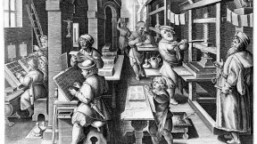 The <i>Invention of Book Printing</i> comes from <i>Nova Reperta</i> (New inventions and discoveries of modern times), by Stradanus (Jan van der Straet), the first such illustrated compendium of postclassical innovations (ca. 1599- 1603). The ability to print many copies of such works revolutionized communication of ideas in the sixteenth century.