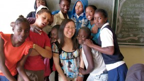 The author with some of her grade eight math students