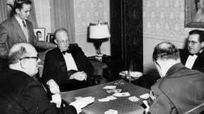 Ike, in a photo likely taken in the late 1940s when he was Army Chief of Staff, playing bridge with General Alfred Gruenther and others