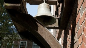 The Pennoyer schoolhouse bell, from Pulham St. Mary in England, now at Leverett House