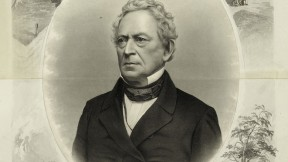 "J.C. Buttre's portrait, probably drawn when Everett ran for vice president on the Constitutional Union Party ticket in 1860, links him to Harvard and George Washington, one of his favorite subjects. (His lectures raised more than $100,000 to help purchase Mount Vernon [see <a href=""http://harvardmagazine.com/2011/05/granny-talk"">""Granny Talk""</a>], and he wrote the entry on Washington for the 1860 <i>Encyclopaedia Britannica.</i>)"