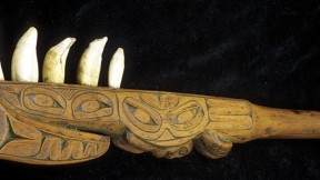 A Nisga'a club is armed with whale teeth (British Columbia)