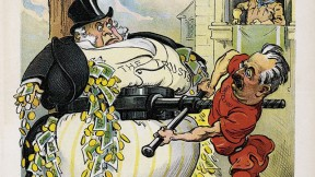 <i>Puck'</i>s view of putting the squeeze on wealthy trusts in the Teddy Roosevelt era