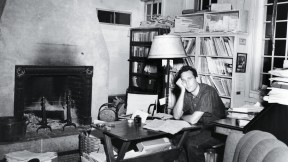 The young Laughlin in his New Directions office at his aunt's home in Connecticut