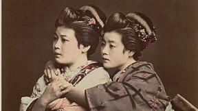 1870s Japan: a hand-tinted albumen print by Raimund von Stillfried showing two women posing