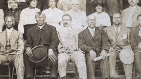 William Monroe Trotter (first row, fifth from right) with other leaders of the Liberty League, circa 1920