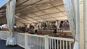 Photograph of Harvard Science Center tent where arriving first-year College students began virus-testing procedures